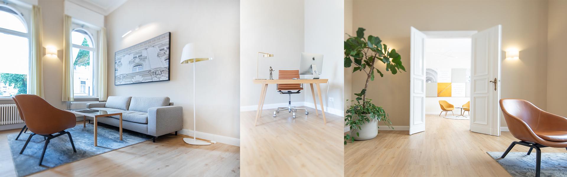 Raum mit Sofa, Tisch und Stühlen