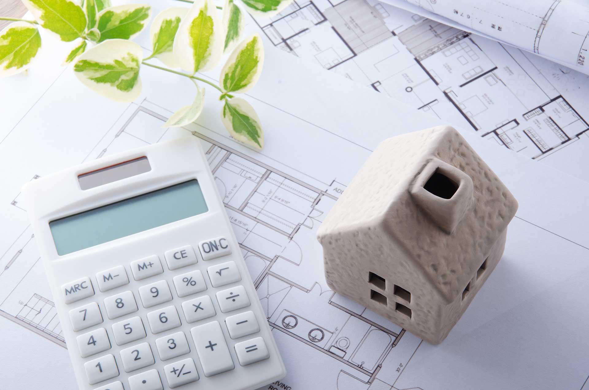 Hausplan und Taschenrechner