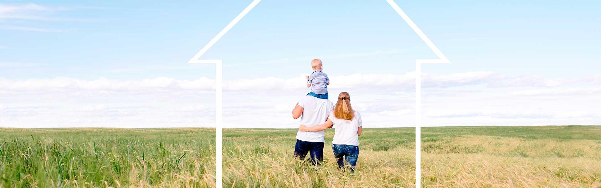 Familie auf einem Feld