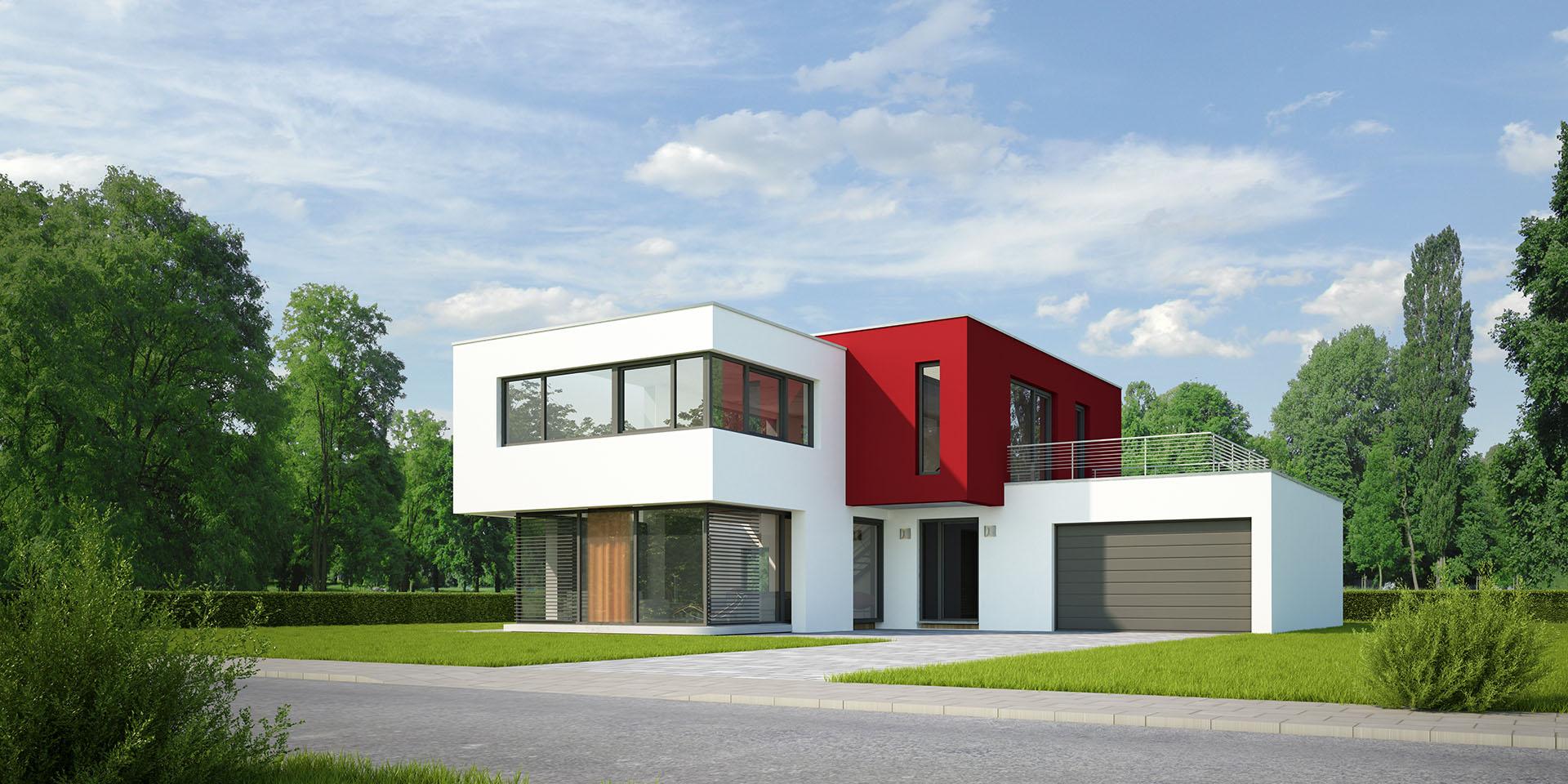 Modernes Haus mit Garten