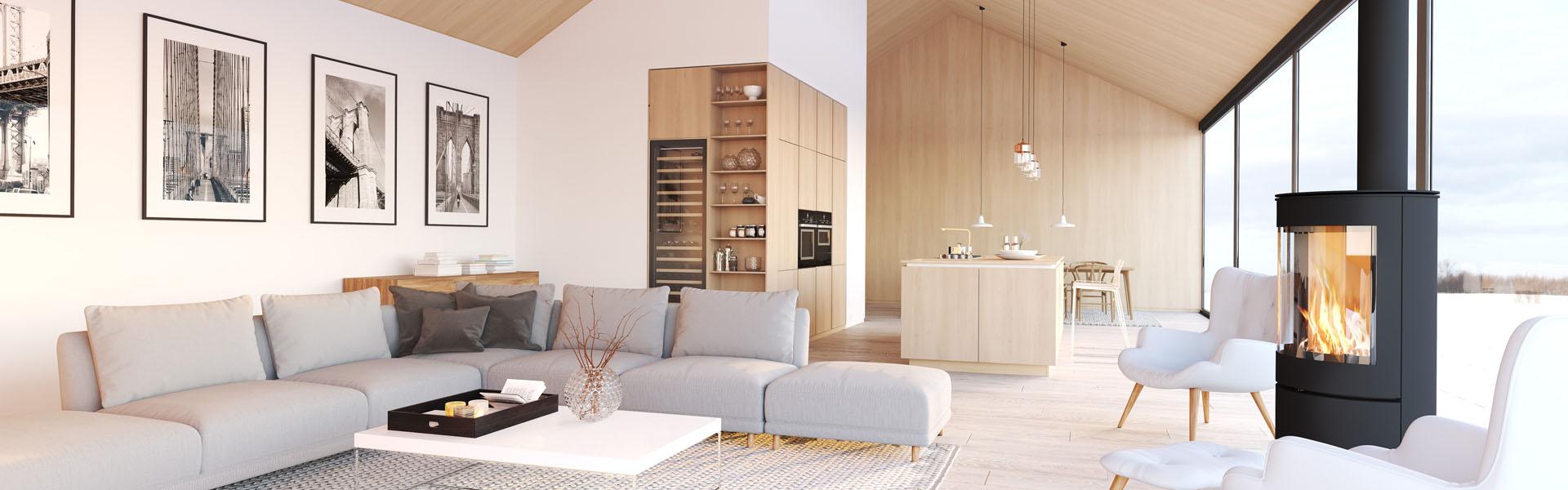 Modernes Wohn- und Esszimmer mit Ofen