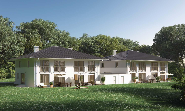 Moderne Einfamilienhäuser mit Garten