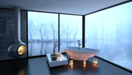 Modernes Bad mit freistehender Badewanne