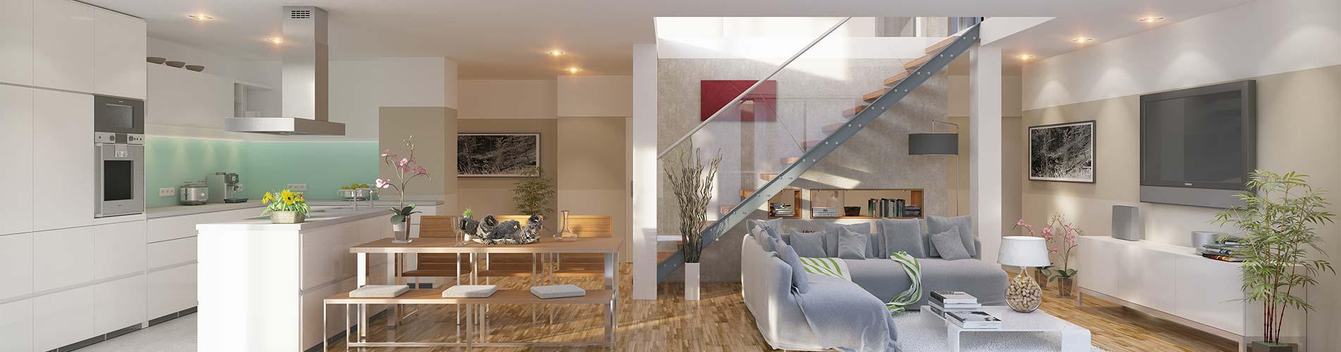 Moderne offene Küche und Esszimmer