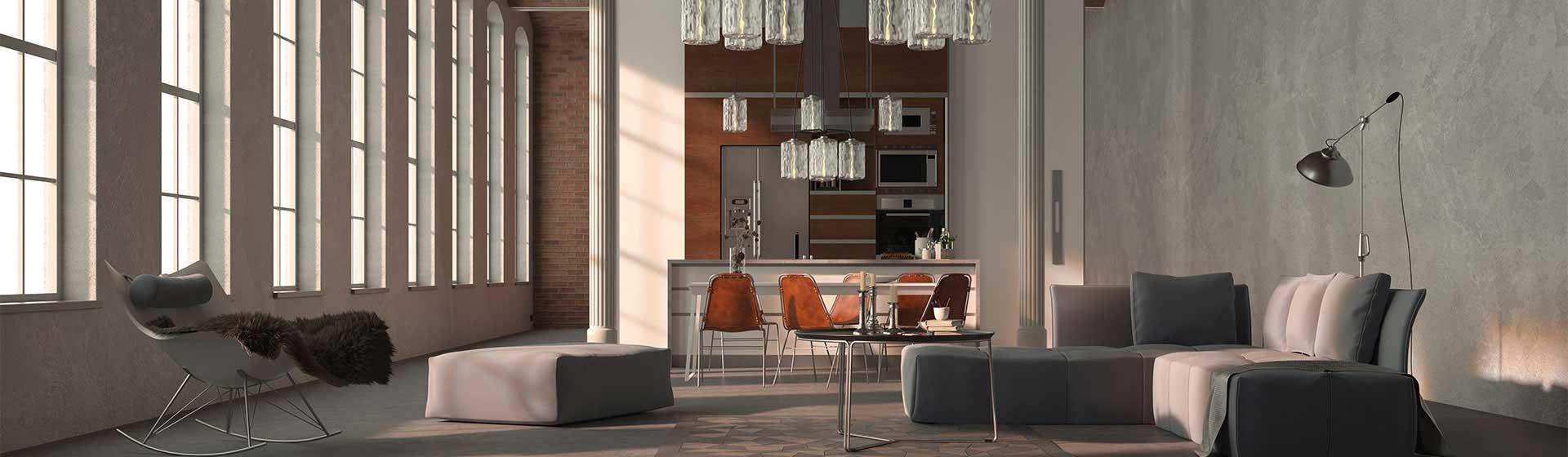 Wohn- und Essbereich in Loftwohnung