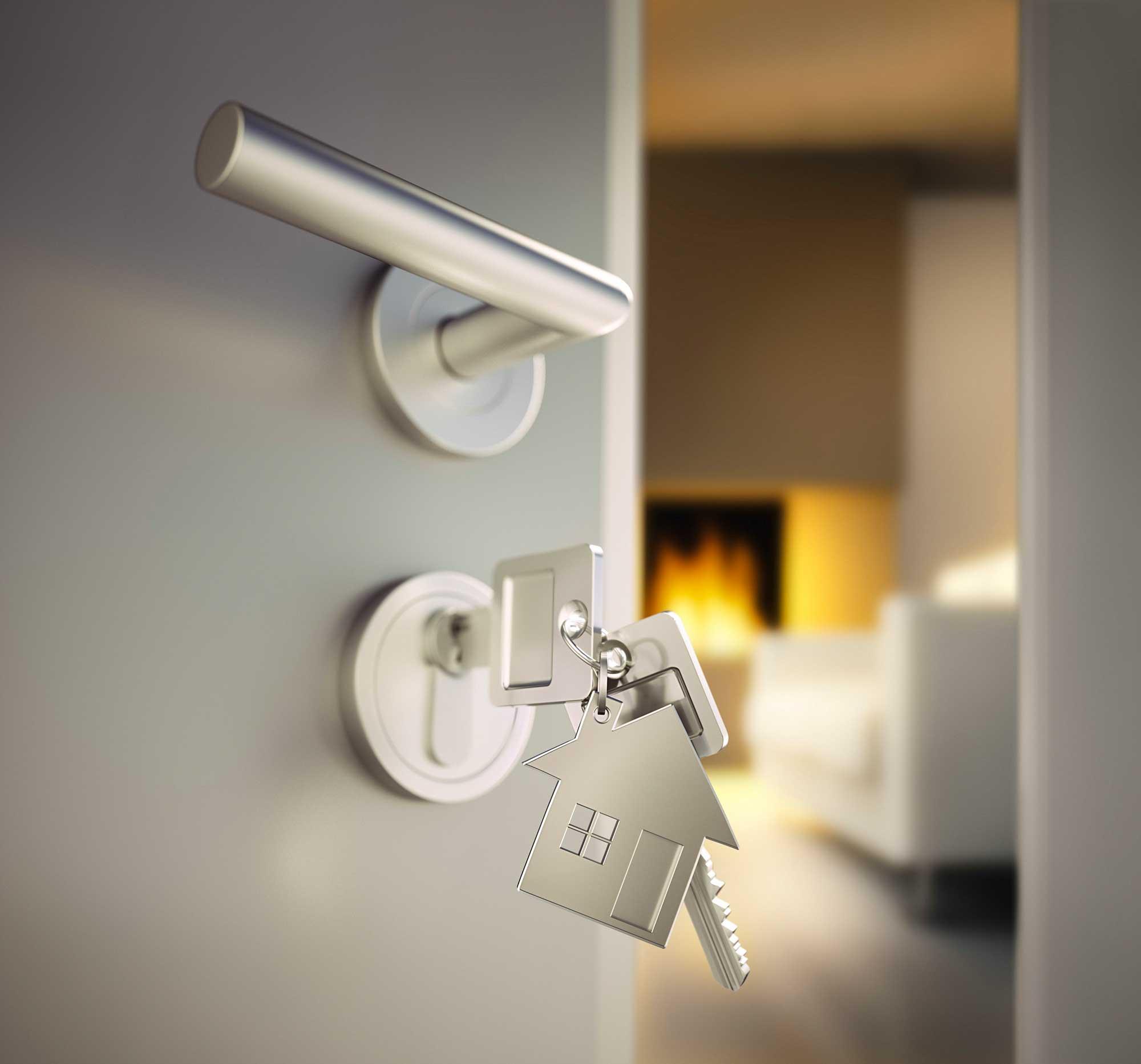 Schlüssel in Wohnungstür