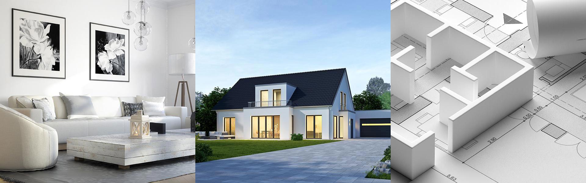 Wohnzimmer, Haus und Grundriss