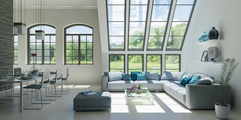 Moderne Helle Wohnung mit großen Fenstern