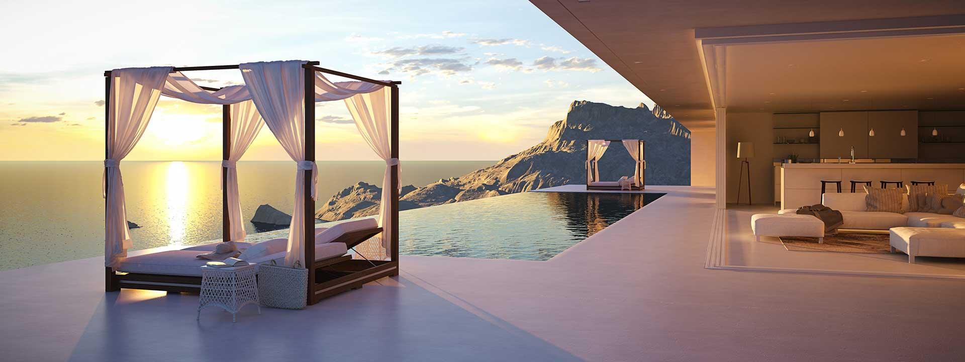 Himmelbett neben Pool