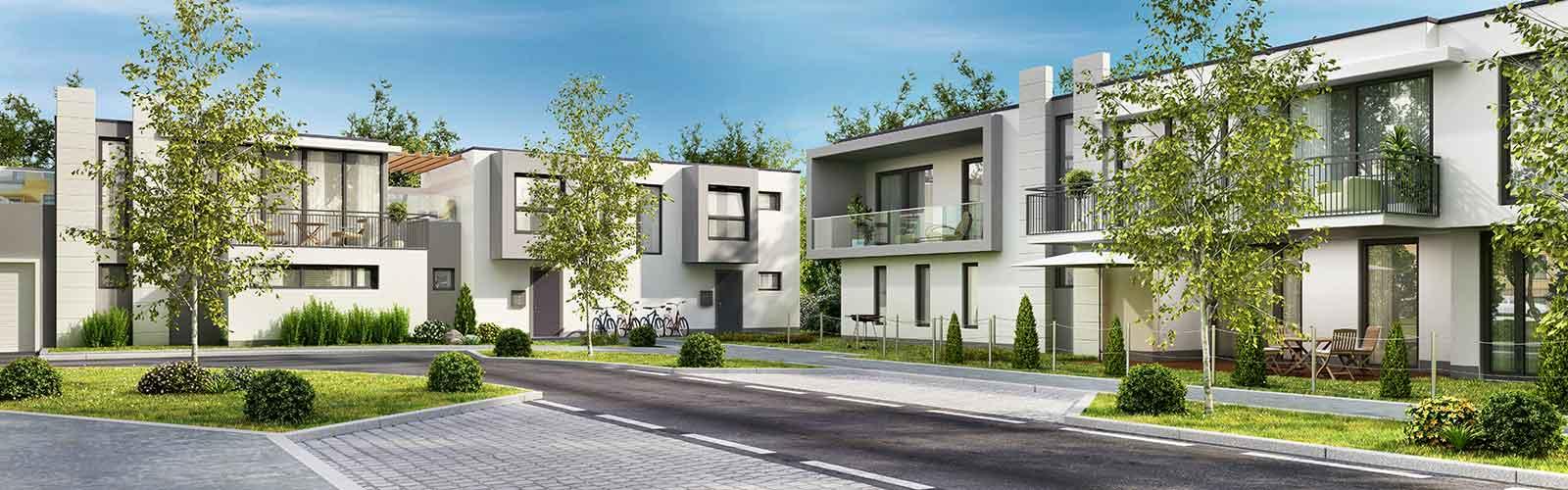 3D-Modellierung einer Neubausiedlung